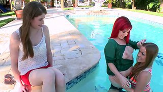 Mercedes lynn gathers her lesbian friends lady monroe and lara brookes to have hardcore fun beside the pool