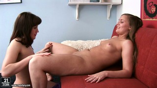 Two horny babes and a pink dildo get together for a wild lesbian adventure