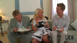 Tiffany kingston is s playful blond- haired maid the does her best to make two gents happy. they pull out their hard dicks and then she gets the action started. watch dirty maid have fun with two cocks.