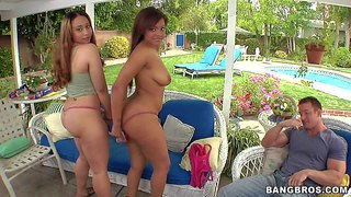 Aurora jolie and catalina taylor show off their amazing curves outdoors. two playful honeys shows off their big booty and big natural tits in the backyard. lucky guy slaps their big juicy asses enthusiastically.