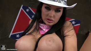 Busty brunette cowgirl down south gets naked to finger her snatch