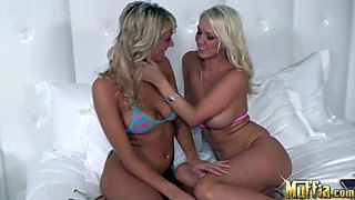 Hot and busty blonde molli cavalli and her friend sidney enjoy in taking off each others bikini and licking each others shaved taco on the bed in the afternoon sex session
