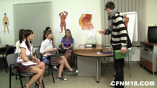 A couple of brave horny girls convince him to try a new approach