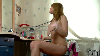 Sexy russian damsel strips in front of the mirror