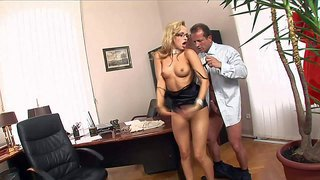 Innocent looking young nerdy blonde secretary aleska diamond with long legs and natural boobs in high heels and skirt screams loud while riding on george uhl in the office.