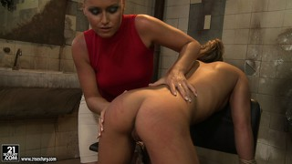 She gets her ass whipped by mistress kathia and gives her the reach around