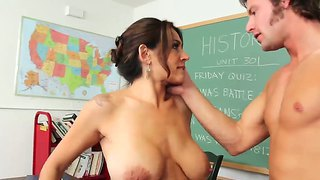 Billy hart licks hairy pussy of his cute teacher raylene and fucks her on the table
