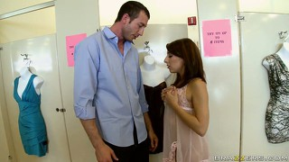 Petite teen gets on her knees to give a bj in a changing room