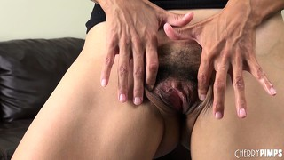 Dana vespoli spreads her hairy pussy wide and rubs it hard in this solo show