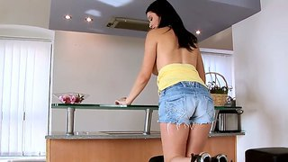 Cute adrianne black poses and strips in the kitchen