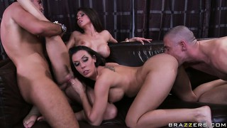 Unstoppable action scene with the wild brunette and well-known pornactors