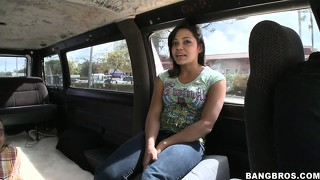 Naughty ebony newbie takes a ride on the bang bus and gives an interracial blowjob