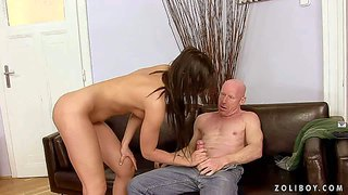Naked attractive brunette bailee with perky tits and bald pussy gets pissed on before horny bald man fucks her vagina with his throbbing cock, he drinks her pee after hard pussy pounding.