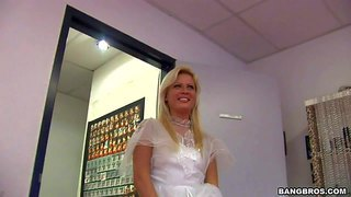 Blond-haired bride honey summer dressed in white is ready for dirty action. she gives headjob from your point of view and spreads her legs wide to show her shaved snatch. she does it with no shame.