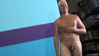 Covering hot slut's shaven pussy with a thick layer of man butter