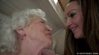 Granny norma and young beauty vicky braun are lesbians that can't keep their tongues off each others pussies. young babe gets tongue fucked before aged woman with hairy snatch parts her legs to get some pleasure too.