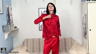 Nova black strips her seductive red outfit revealing her slim body and tight twat