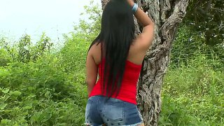 Perfect latina, named camila, is the winner of succulent natural boobs, black long hair and cheeky ass