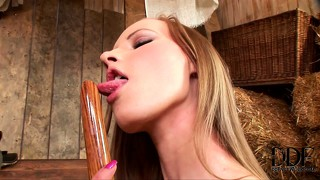 All types of bliss in the barn for solo girl and her steamy snatch