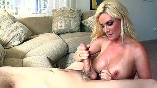 Foxy blonde milf with big jugs diamond foxxx gets totally naked, makes her lover turned on and gives him an amazing blowjob, balls licking and a titjob on her knees