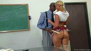Student girl briella bounce in mini skirt turns on black teacher sean michaels with her perfect bare bubble ass. super sexy girl bends over and gets her breathtaking ass spanked in the classroom.