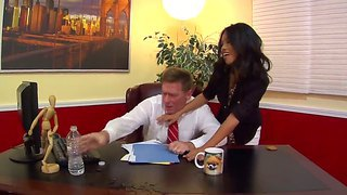The beautiful brunette pornstar cindy starfall gets seduced by the kyle stone in the office