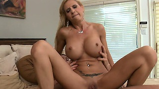 Busty blonde babe gets banged by his bobble whacker fast and hard