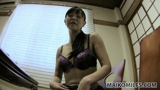 Young asian amateur, rie, strips down to her purple and black bra and panties, for starters