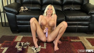 Riley evans fucks her hairless pussy and spreads it wide open