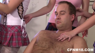 Six horny and cock-starved birthday party having a cfnm