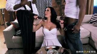 Busty brunette jayden jaymes now has two black cocks to play with