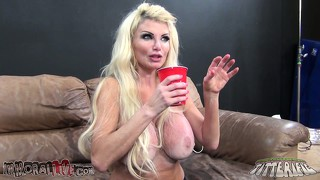 Taylor wane takes off her boots during a break to tease her foot fans