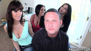 Babes brandy aniston and daisy talk him into munching on his hot dog