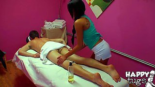 Attractive black haired one of kind stunner jayden lee with juicy hooters and scorching hot body in white booty shorts gives memorable massage to pale dude and gets very naughty