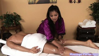 The dazzling brunette displays her marvelous massage techniques and skills
