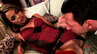 Yearning for hardcore action, a dazzling blonde in hot red lingerie sucks a big cock