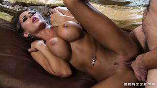 He plays with her big boobs and drills her cunt, then cums on her tits