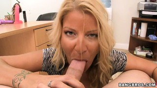 Milf whore sucks cock and gives a titjob in a hot office sex pov scene