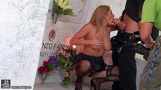 Long haired blonde karina shy with big juicy knockers and arousing heavy make up in sexy lingerie and high heels gets her shaved cunny drilled deep by hot stud at photo shoot
