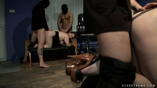 These office gals are humiliated as they get drilled all tied up