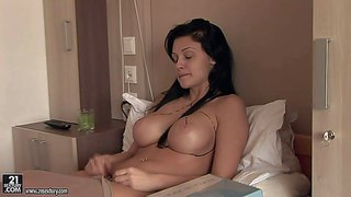 Aletta ocean is a pornstars with amazing huge fake tits. babe with no make-up shows off her massively big tits on the bed before another boob job. aletta ocean is so sexy in stockings and thong.