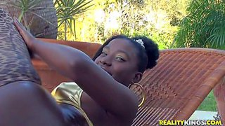 Amina is a beautiful young black chick with adorably sexy round ass. bikini girl bares her natural tits and shows off her perfect shiny butt in the garden. her black ass is unthinkably sexy!