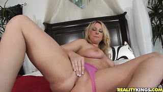 Blonde stephanie blaze with giant tits and bald pussy having sensual anal sex with horny guy ramon after she gives headjob