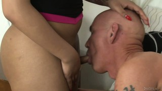 Tranny slut banged hard and sucked by a bald dude like the whore she is