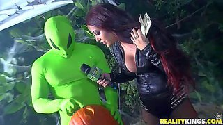 Money talks throw a pumpkin party. topless big tit brunette gets the cation started. watch guy get his dick sucked by a pumpkin-man. watch them do it like crazy for money.