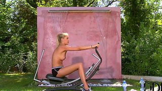 Teen holly anderson gets naughty in backyard