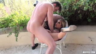 Hot french beauty gets hammered from behind on the back patio