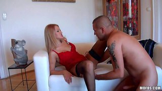 Cherry kiss is a hot young babe in sexy lingerie. this 19 year old chick looks great in red and black. she gets her smooth pussy eaten out and fucked by hot guy. he loves her tight european vagina.