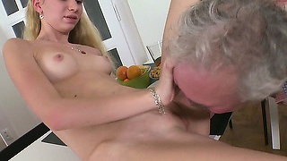 Slender blonde with tiny tits and sexy legs rosy enjoys her time with an older guy