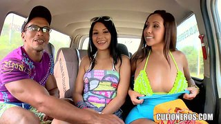 Samy, angelina and pedro in the backseat off car and have sex fun for the camera. latina chicks flash their tits and curious guy goes topless to get the action started.